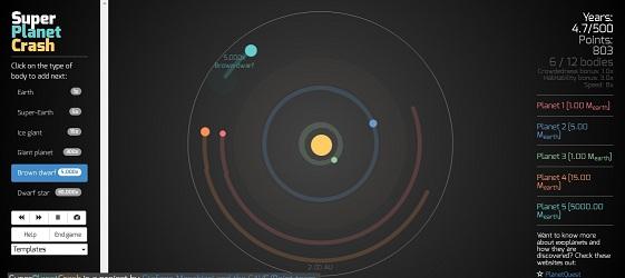 Gravità: costruisci il tuo sistema solare con SPC